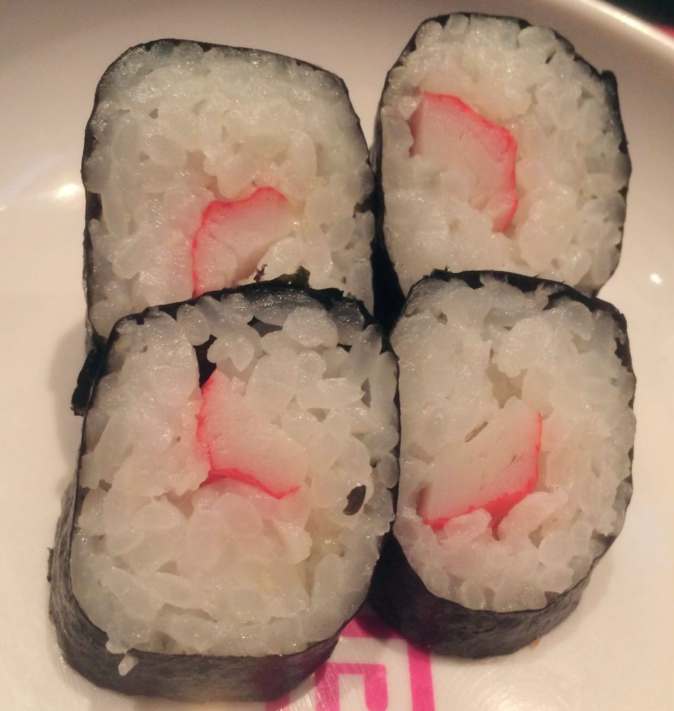 Crab stick hoso maki (again I think) As if the crab hadn't had a hard enough time having its claw deep fried, I've come back to eat its stick.
